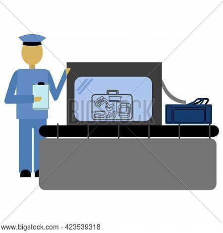 Baggage Customs Check, Baggage Tape And Scanner For Checking, Customs Screening With An Employee Vec