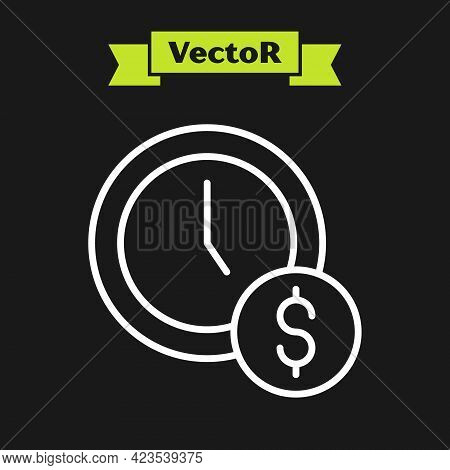 White Line Time Is Money Icon Isolated On Black Background. Money Is Time. Effective Time Management
