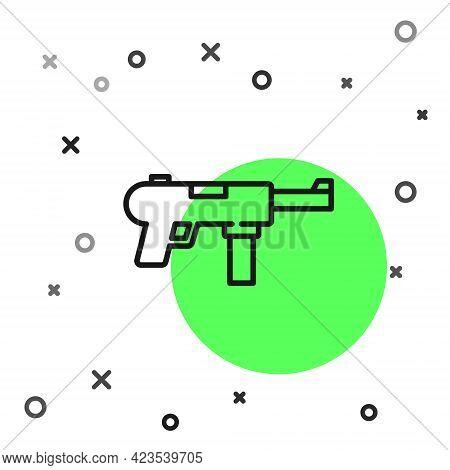 Black Line Submachine Gun M3, Grease Gun Icon Isolated On White Background. Vector