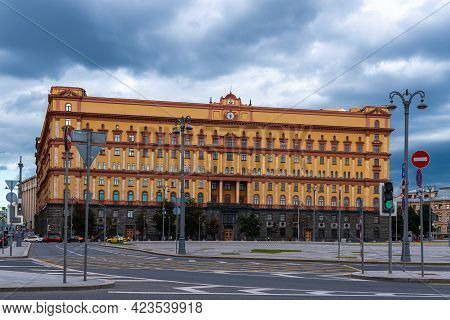 Moscow, Russia, July 7, 2019 - Building Of Fsb Kgb On Lubyanskaya Square, Dramatic View, Cityscape
