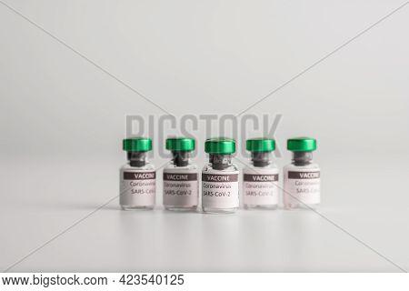 Vaccine Coronavirus (covid-19) Bottles. Sars-cov-2 Covid-19. To Fight The Coronavirus Pandemic.