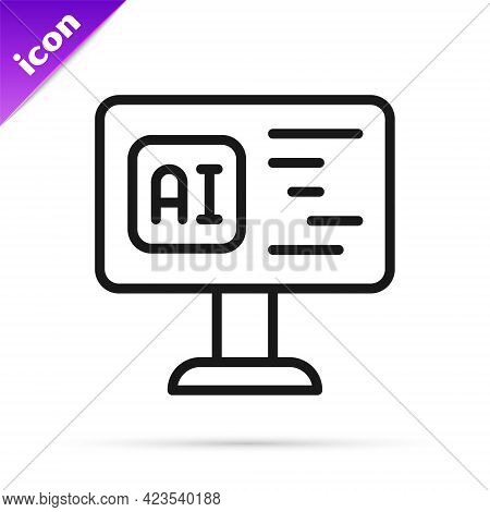 Black Line Software, Web Developer Programming Code Icon Isolated On White Background. Javascript Co