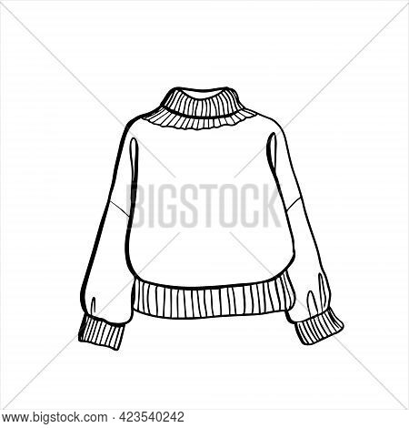 Knitted Sweater With A Wide Collar. Icon Vector From Clothes Collection. Fashion Illustration