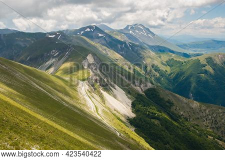 Panoramic View From Monte Bove, A Mountain In The Monti Sibillini Range Of The Apennines, Marche, Ce