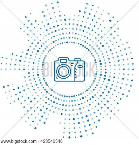 Blue Line Photo Camera Icon Isolated On White Background. Foto Camera Icon. Abstract Circle Random D