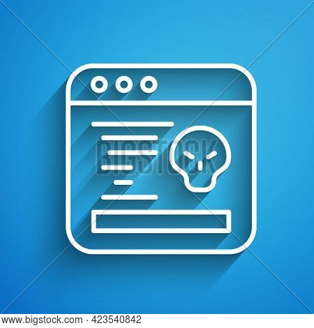 White Line System Bug Concept Icon Isolated On Blue Background. Code Bug Concept. Bug In The System.
