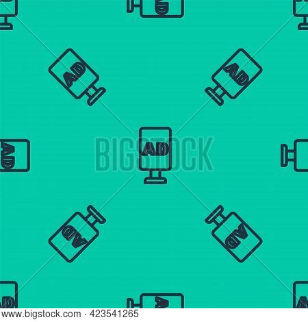 Blue Line Advertising Icon Isolated Seamless Pattern On Green Background. Concept Of Marketing And P