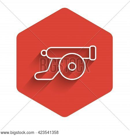 White Line Ramadan Cannon Icon Isolated With Long Shadow Background. Red Hexagon Button. Vector