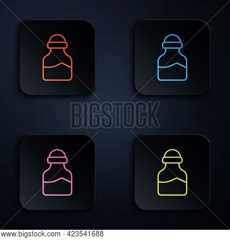 Color Neon Line In Can Icon Isolated On Black Background. Seasoning Collection. , Condiments In A Gl
