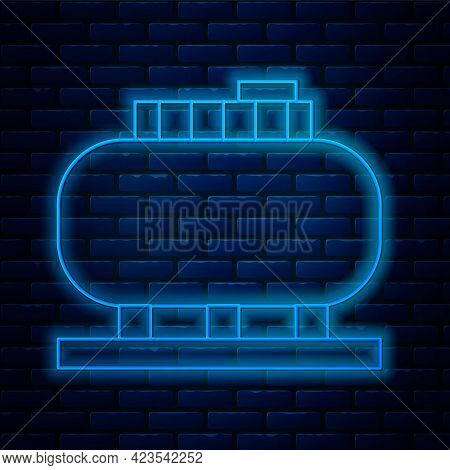 Glowing Neon Line Oil Tank Storage Icon Isolated On Brick Wall Background. Vessel Tank For Oil And G