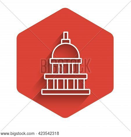 White Line White House Icon Isolated With Long Shadow Background. Washington Dc. Red Hexagon Button.