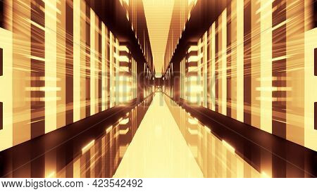 Abstract 3d Illustration Of Yellow Geometric Tunnel