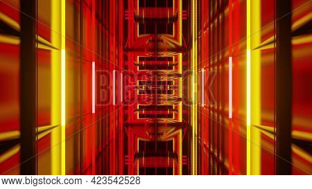 3d Illustration Of Dynamic Futuristic Tunnel With Neon Lights