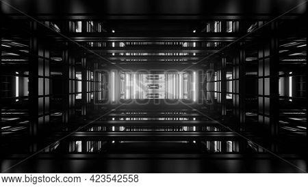 Dark Gray 3d Illustration Of Geometric Tunnel