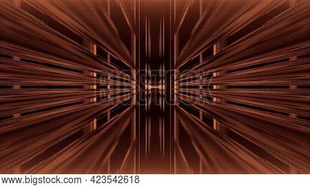 Abstract 3d Illustration Of Endless Geometric Corridor