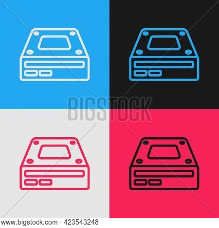 Pop Art Line Optical Disc Drive Icon Isolated On Color Background. Cd Dvd Laptop Tray Drive For Read