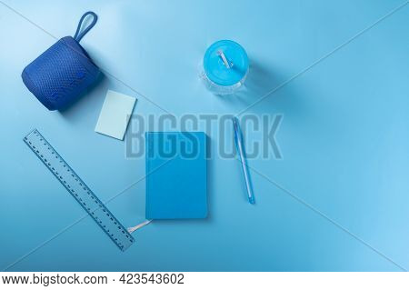 Notepad And Pen. Notepad And Audio Column. Usb Column And Notebook.