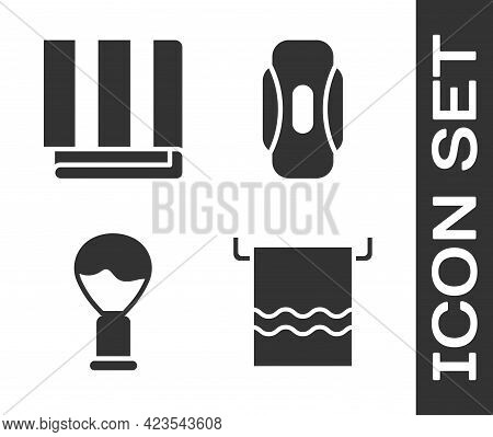 Set Towel On A Hanger, Towel Stack, Shaving Brush And Sanitary Napkin Icon. Vector