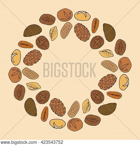 Sketch Bread Doodle Color For Decorative Design. Vector Round Bread Template In Color, With A Blank