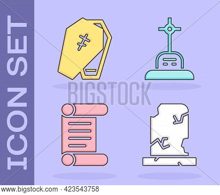 Set Old Grave With Tombstone, Coffin With Cross, Decree, Parchment, Scroll And Grave With Cross Icon