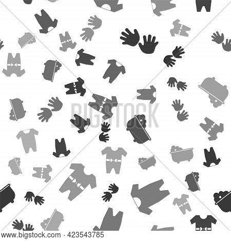 Set Baby Hands Print, Baby Clothes, Baby Bathtub And Baby Clothes On Seamless Pattern. Vector
