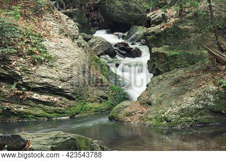 Silky Effect Of Waterfall Running In A Brook At Resovske Vodopady In Czech Republic.
