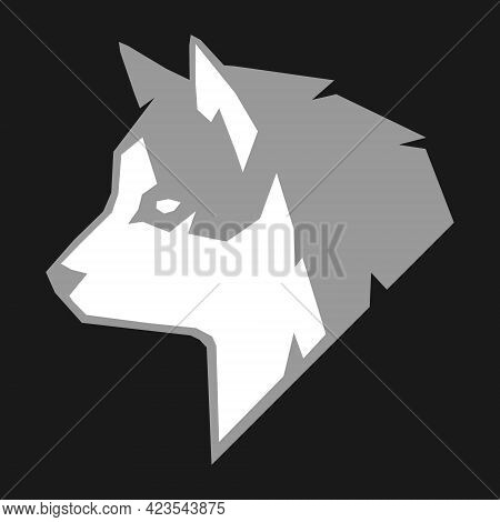 Abstract Gray And White Husky Dog Head Side View Portrait Symbol On Black Backdrop. Design Element