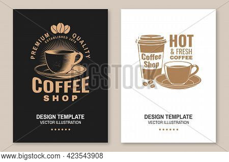 Coffe Shop Logo, Badge Template. Vector. Flyer, Brochure, Banner, Poster With Coffee Cup Silhouette.