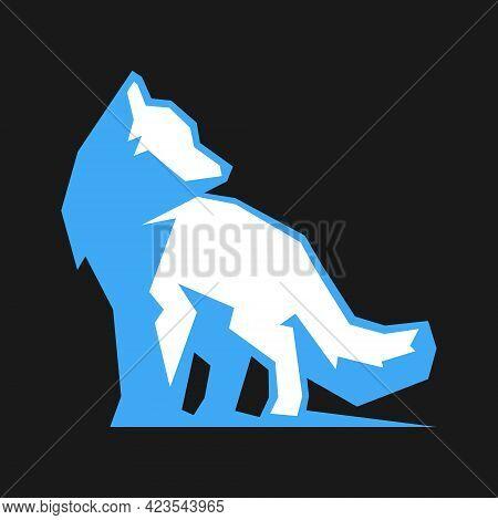 Abstract Arctic Polar Fox Symbol On Black Backdrop. Design Element