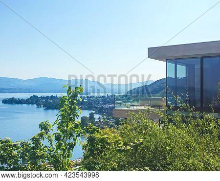 Modern House In Wollerau, Canton Of Schwyz In Switzerland, Stunning View On Zurichsee, Swiss Nature