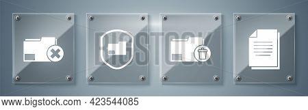 Set Document, Delete Folder, Document Folder Protection And Delete Folder. Square Glass Panels. Vect