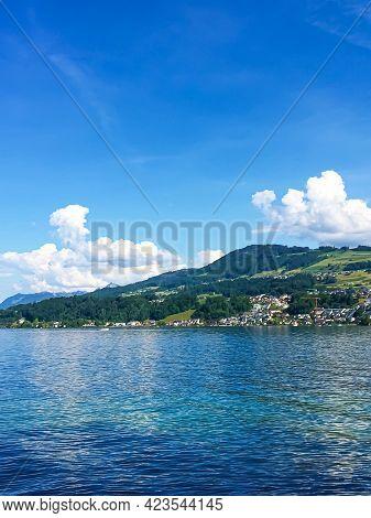 Idyllic Swiss Landscape, View Of Lake Zurich In Richterswil, Switzerland, Mountains, Blue Water Of Z