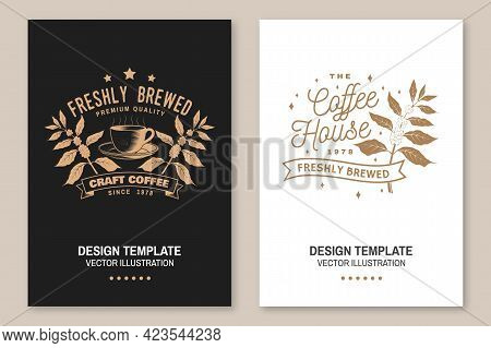 Coffe Shop Logo, Badge Template. Vector Flyer, Brochure, Banner, Poster Design With Coffee Cup And B