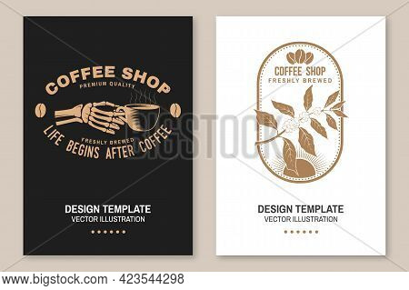Coffe Shop Logo, Badge Template. Vector Flyer, Brochure, Banner, Poster With Coffee Cup In Skeleton