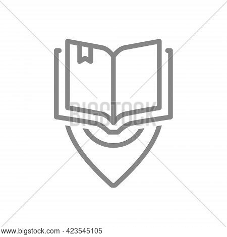 Open Book With Location Mark Line Icon. City Library Location, Place To Read, Bookstore Symbol