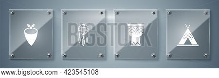Set Indian Teepee Or Wigwam, Drum, Dream Catcher With Feathers And Cowboy Bandana. Square Glass Pane