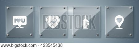 Set Location With Heart, Champagne Bottle, Healed Broken And Speech Bubble I Love You. Square Glass