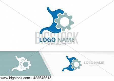 Vector Industrial Stomach Logo Combination. Unique Gastrointestinal Tract And Gear Logotype Design T