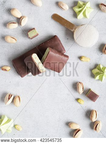 Layout With Free Space For Your Text Top View. Neutral Background With Pistachios, A Spoonful Of Pro
