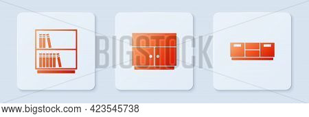 Set Wardrobe, Library Bookshelf And Furniture Nightstand. White Square Button. Vector