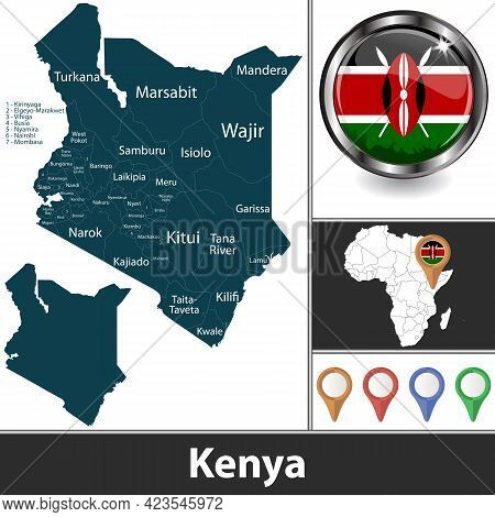 Map Of Kenya With Counties And Location On African Map. Vector Image