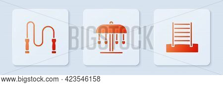 Set Attraction Carousel, Jump Rope And Swedish Wall. White Square Button. Vector