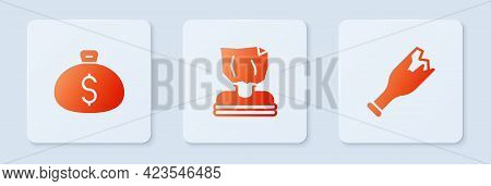 Set Kidnaping, Money Bag And Broken Bottle As Weapon. White Square Button. Vector