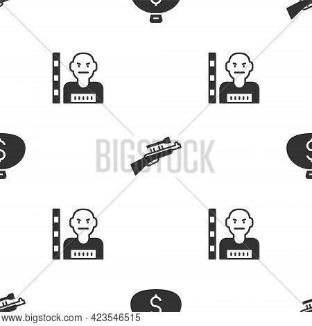 Set Money Bag, Sniper Rifle With Scope And Suspect Criminal On Seamless Pattern. Vector