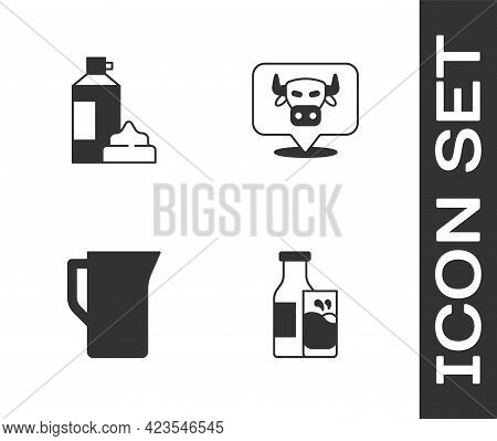 Set Bottle Milk And Glass, Whipped Cream In Bottle, Milk Jug Or Pitcher And Cow Head Icon. Vector