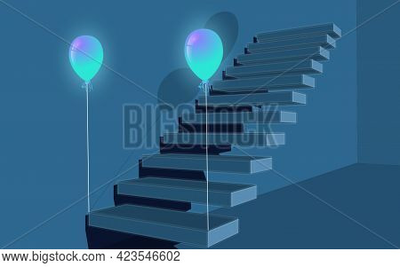 Dark Blue Staircase With Balloons, 3d Steps. Blue Wall Perspective Of Steps.