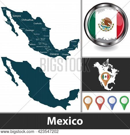 Map Of Mexico With States And Location On North American Map. Vector Image