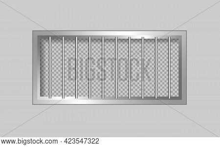 Prison Windows With Bars. Windows On A Light Wall.