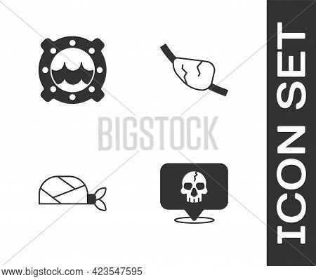 Set Skull, Ship Porthole With Seascape, Pirate Bandana For Head And Eye Patch Icon. Vector