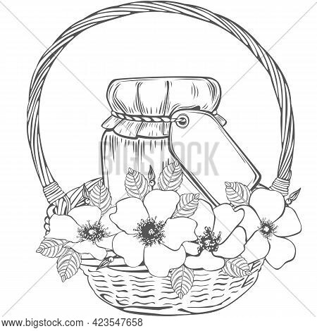 Wooden Basket With Jam Jar And Rose Flowers. Vector Image